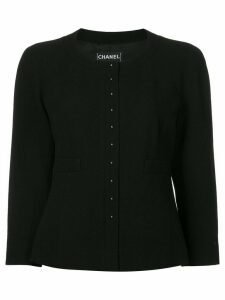 Chanel Pre-Owned three-quarter sleeves collarless jacket - Black