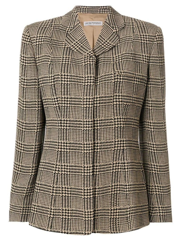 Giorgio Armani Vintage hounstooth check slim blazer - Brown