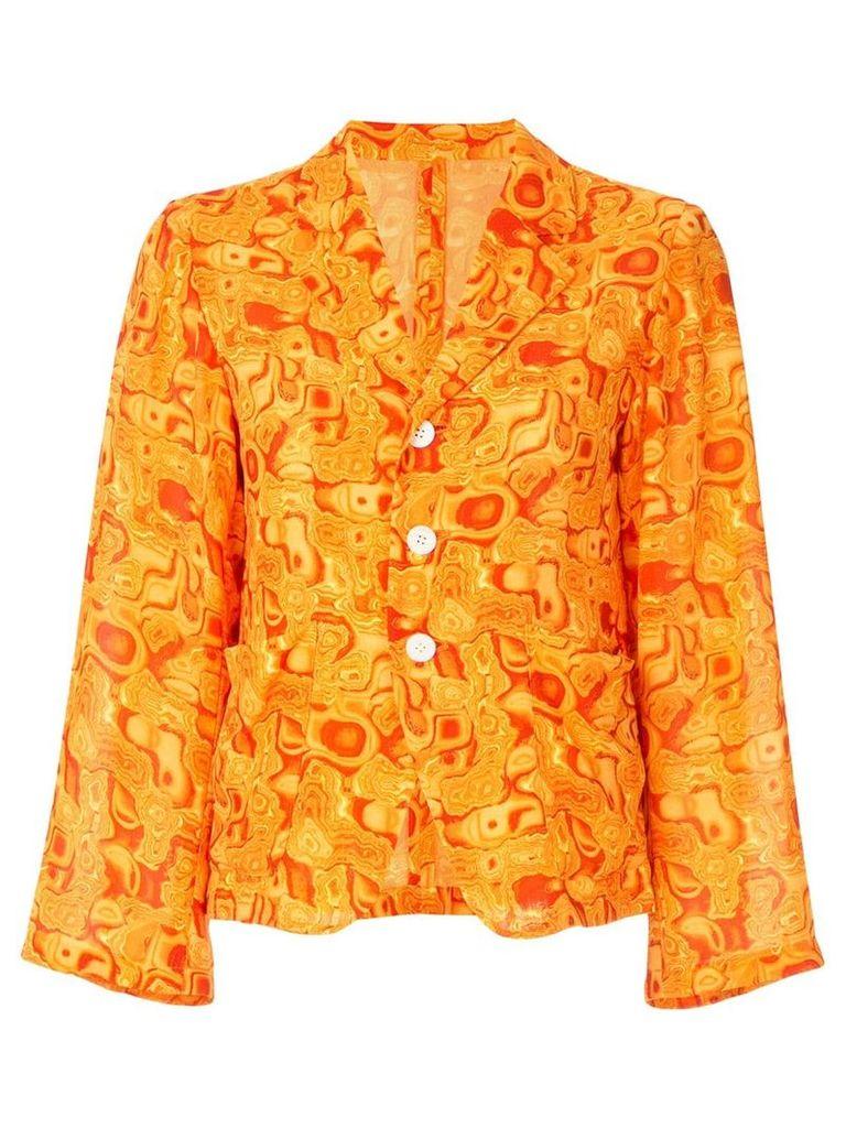 Yohji Yamamoto Vintage cropped kaleidoscope-print blazer - Orange