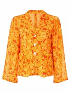 Yohji Yamamoto Pre-Owned cropped kaleidoscope-print blazer - Orange