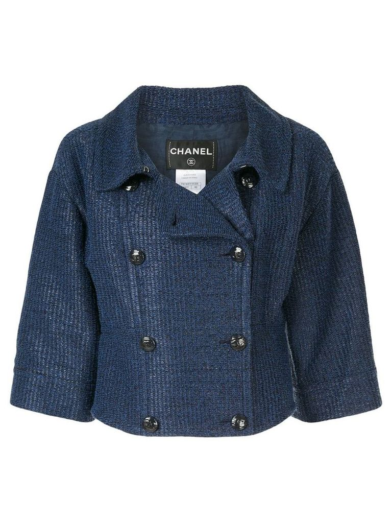Chanel Vintage double-breasted cropped jacket - Blue