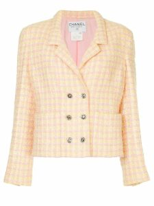 Chanel Pre-Owned plaid double-breasted jacket - Yellow