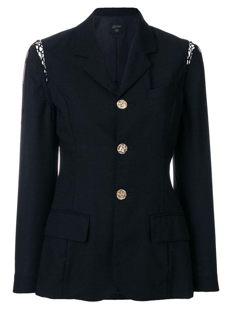 Jean Paul Gaultier Vintage Lace-up sleeves fitted blazer - Black
