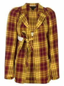 Comme Des Garçons Pre-Owned tartan tied-up blazer - Multicolour