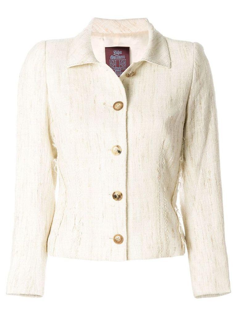 John Galliano Vintage single breast jacket - Neutrals