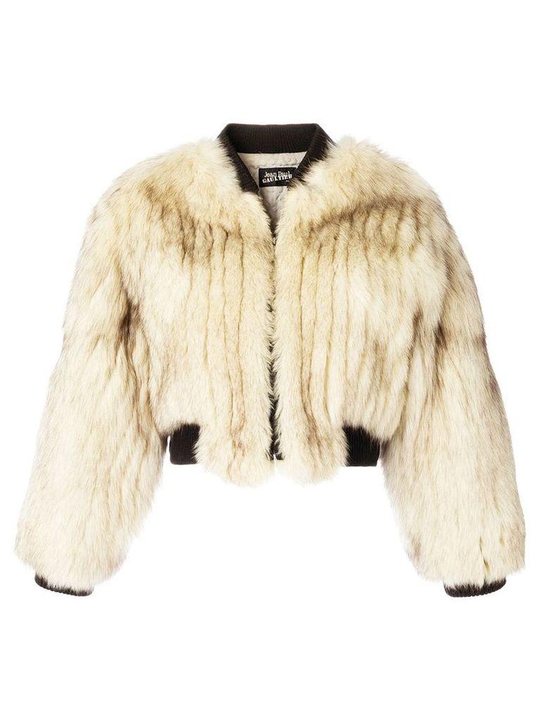 Jean Paul Gaultier Vintage fox fur bomber jacket - Neutrals