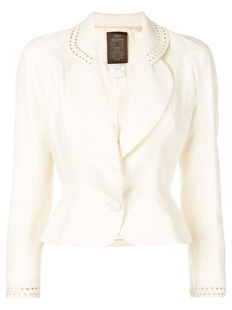 John Galliano Vintage cut-out detail fitted blazer - Neutrals