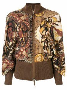 Jean Paul Gaultier Pre-Owned ribbed detail printed jacket - Brown