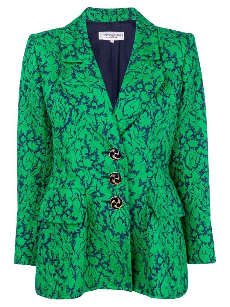 Yves Saint Laurent Pre-Owned floral-jacquard blazer - Green
