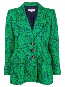 Yves Saint Laurent Pre-Owned floral-jacquard blazer - Green