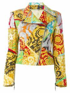 Versace Pre-Owned mixed print biker jacket - Multicolour