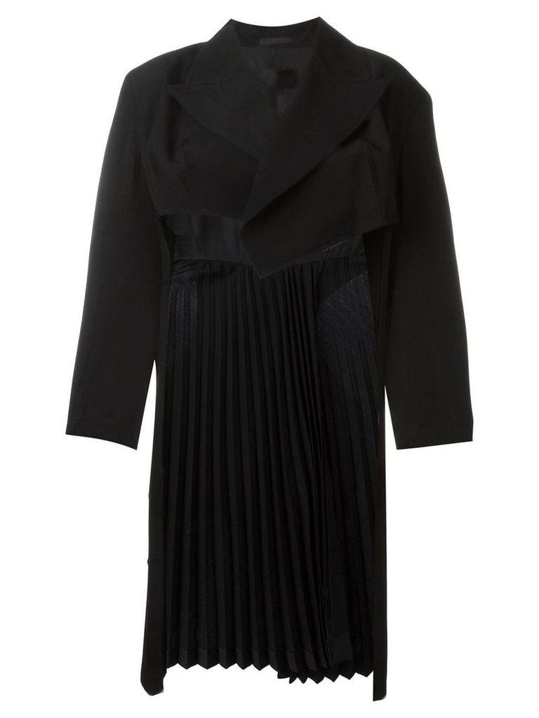 Comme Des Garçons Vintage pleated long back jacket - Black