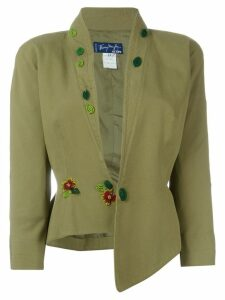 Thierry Mugler Pre-Owned sequin flower appliqué blazer - Green