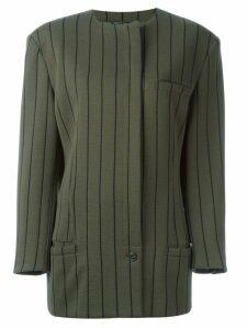 Versace Pre-Owned striped single button jacket - Green