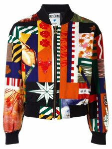 Moschino Pre-Owned patchwork print bomber - Black