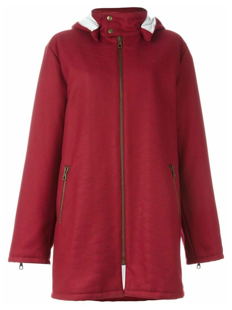 Romeo Gigli Vintage stitch detail hooded coat - Red