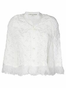 Comme Des Garçons Pre-Owned fringed knitted shrug - White