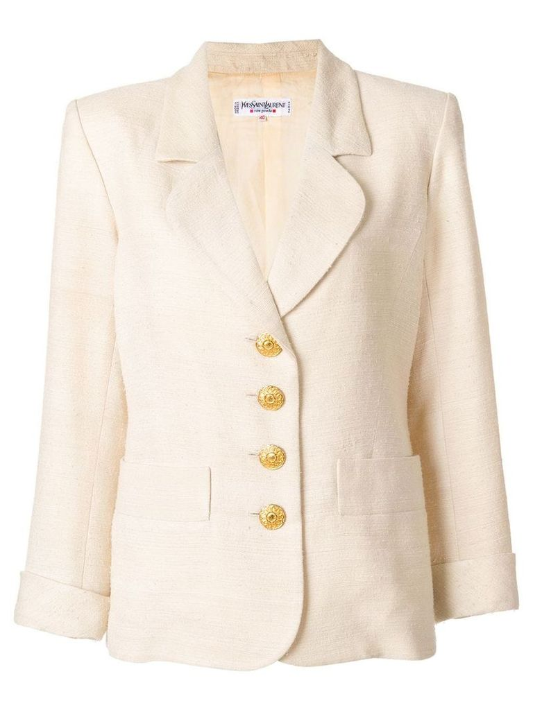 Yves Saint Laurent Vintage contrast-button blazer - Neutrals