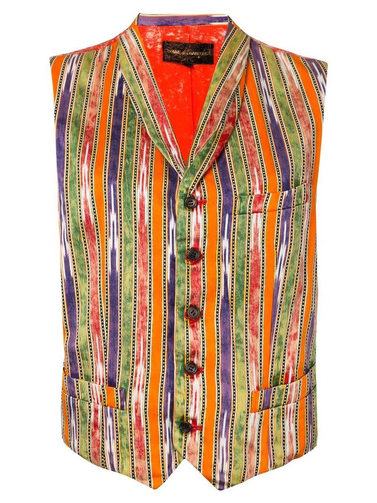 Comme Des Garçons Pre-Owned bleached back striped waistcoat - Yellow