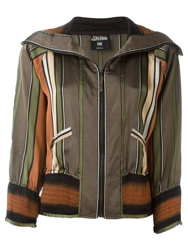 Jean Paul Gaultier Vintage striped bomber jacket - Multicolour