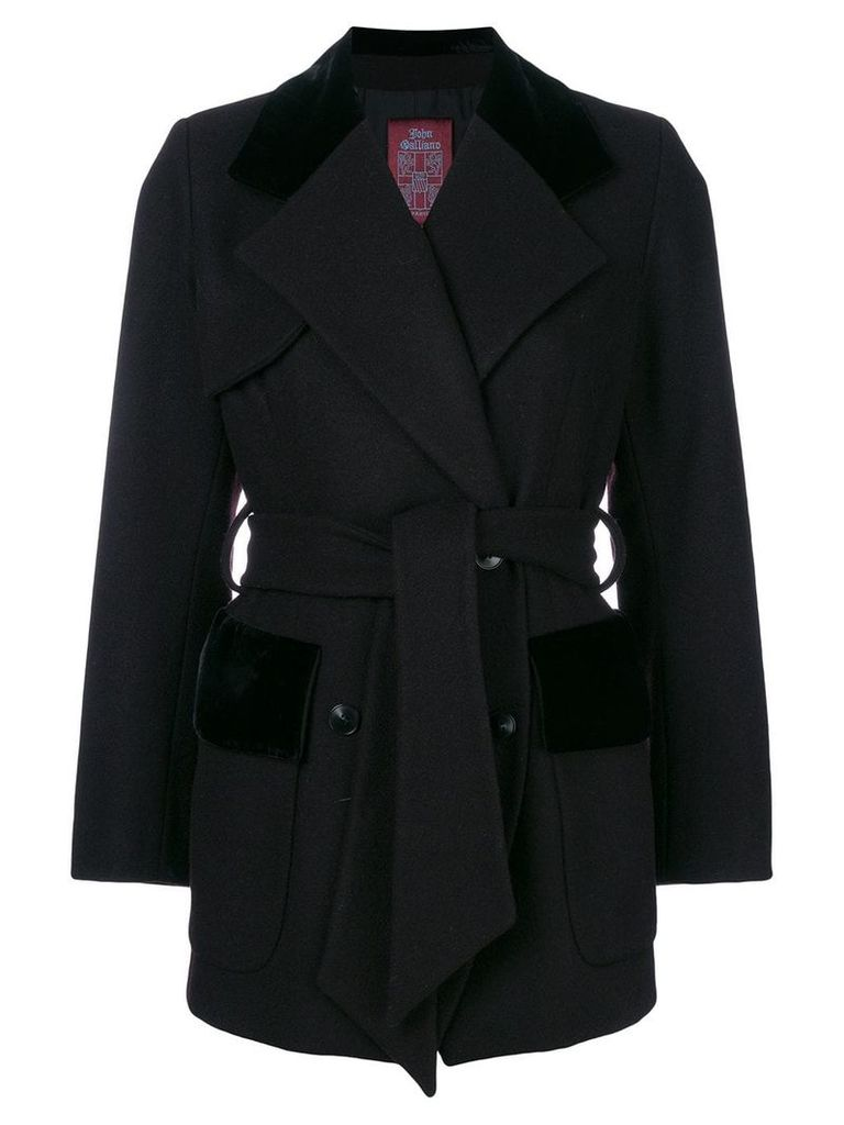 John Galliano Vintage belted double-breasted coat - Black