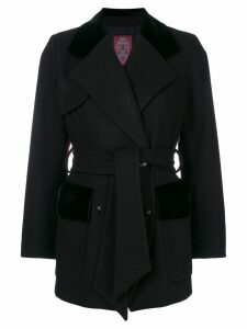 John Galliano Pre-Owned belted double-breasted coat - Black