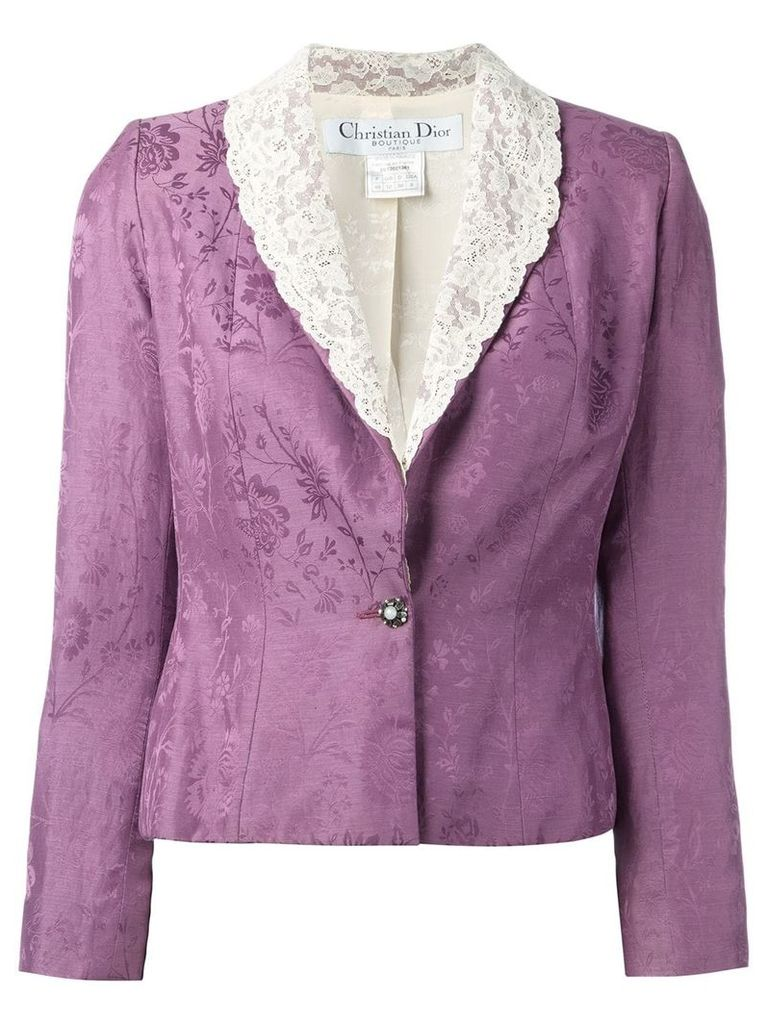 Christian Dior Vintage cropped lace lapel blazer - Pink