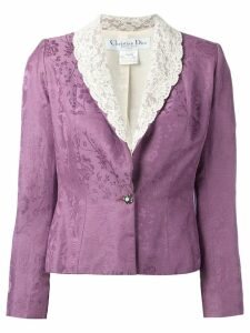Christian Dior Pre-Owned cropped lace lapel blazer - Pink