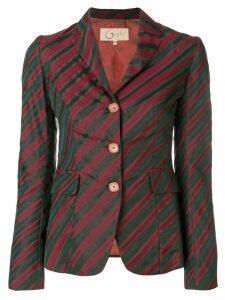 Romeo Gigli Pre-Owned diagonal striped blazer - Green