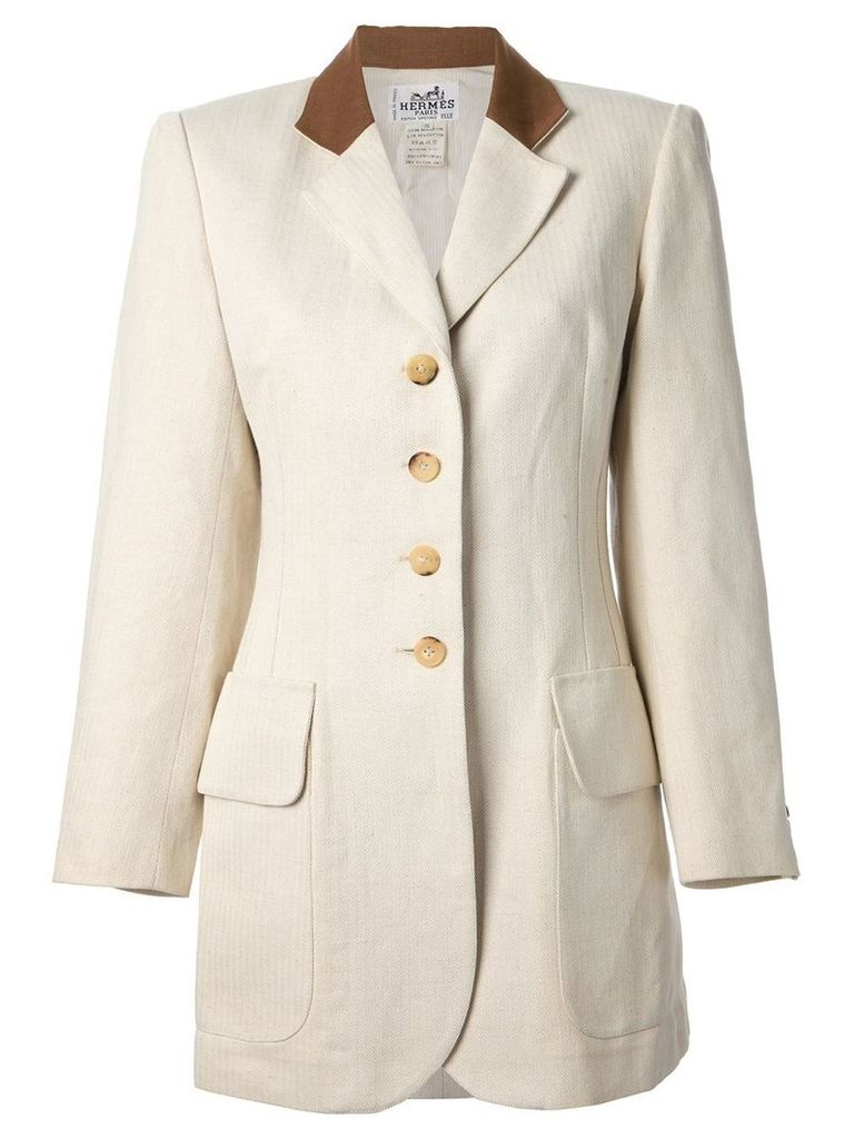 Hermès Vintage single breasted jacket - Neutrals
