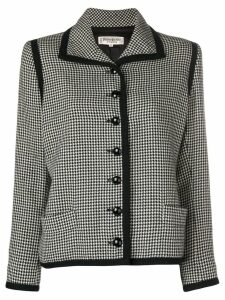 Yves Saint Laurent Pre-Owned boxy houndstooth blazer - Black