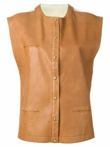 ROBERTA DI CAMERINO PRE-OWNED leather panel waistcoat - Neutrals