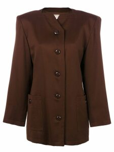 Yves Saint Laurent Pre-Owned boxy jewel necked blazer - Brown