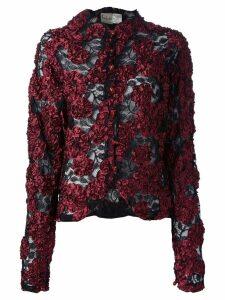 Krizia Pre-Owned appliqué floral lace jacket - Black