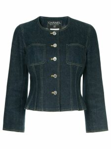 Chanel Pre-Owned 1996 collarless denim jacket - Blue