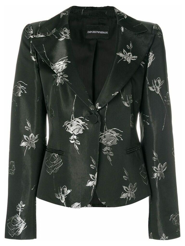 Giorgio Armani Vintage rose print blazer - Black