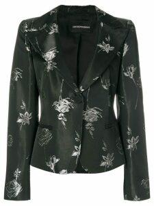 GIORGIO ARMANI PRE-OWNED rose print blazer - Black