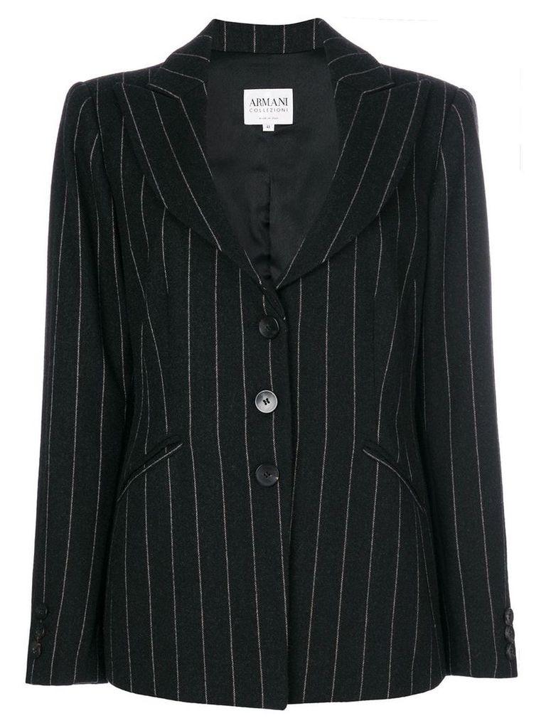 Giorgio Armani Vintage pinstriped blazer - Black