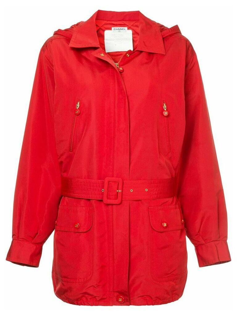 Chanel Vintage hooded belted jacket - Red