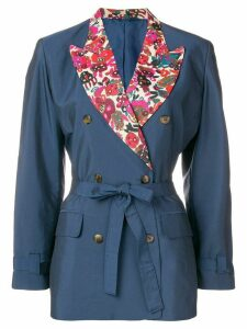 Jean Paul Gaultier Pre-Owned floral detail tied blazer - Blue