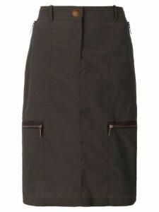 A.N.G.E.L.O. Vintage Cult zipped pockets straight skirt - Green