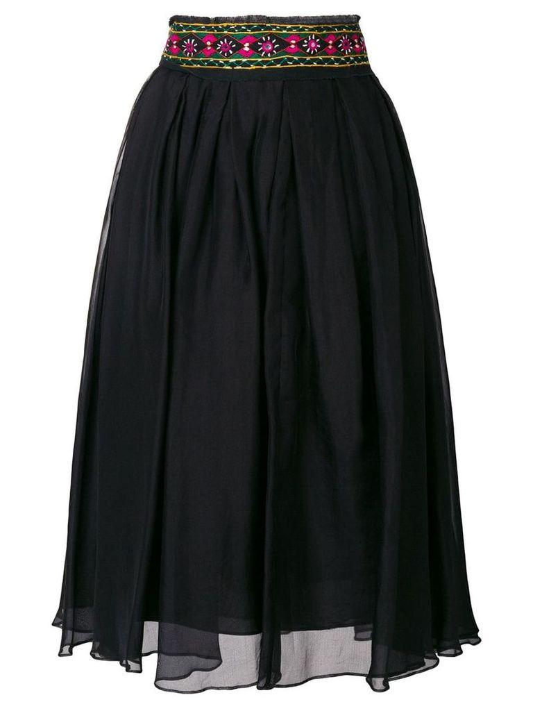 Romeo Gigli Pre-Owned embroidered midi skirt - Black