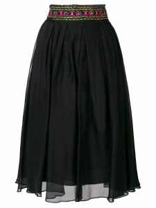 Romeo Gigli Pre-Owned embroidered midi skirt - Black