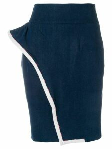 Moschino Pre-Owned wavy detail pencil skirt - Blue