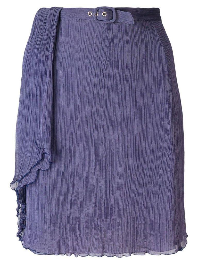 Giorgio Armani Vintage creased belted skirt - Purple