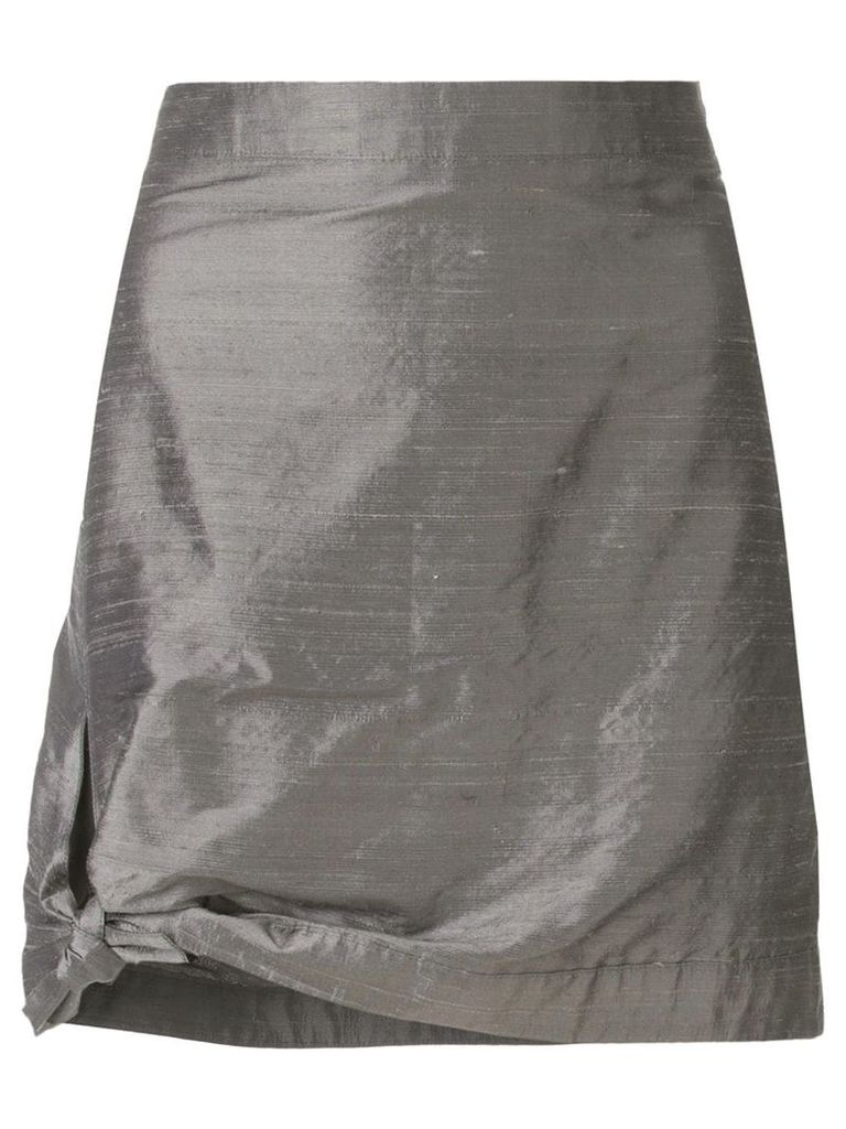 GIORGIO ARMANI PRE-OWNED tied detail fitted skirt - Grey