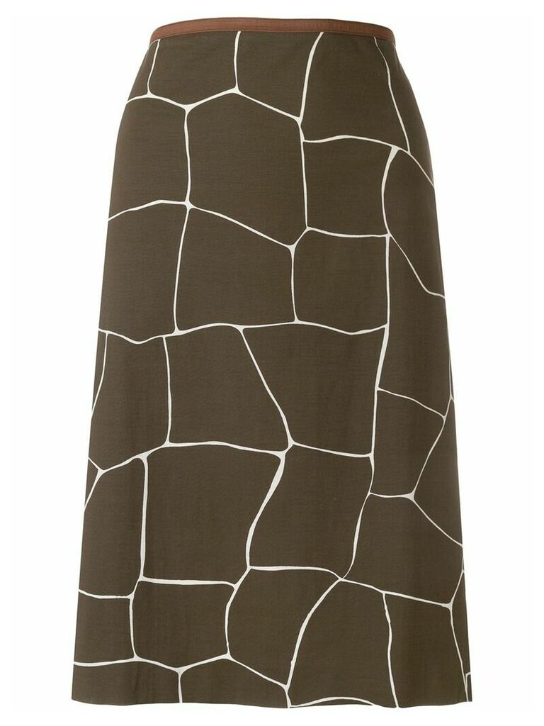 Miu Miu Vintage giraffe print straight skirt - Brown