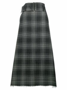 Yohji Yamamoto Pre-Owned long check skirt - Grey