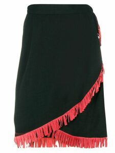 Yves Saint Laurent Pre-Owned high-waist fringed skirt - Black