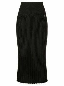 Chanel Pre-Owned ribbed fitted midi skirt - Black